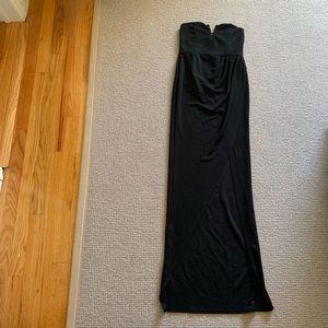 Black Open Leg High Slit Strapless Maxi Dress